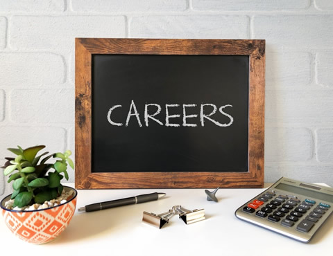 Chalkboard with 'Careers' written on it.